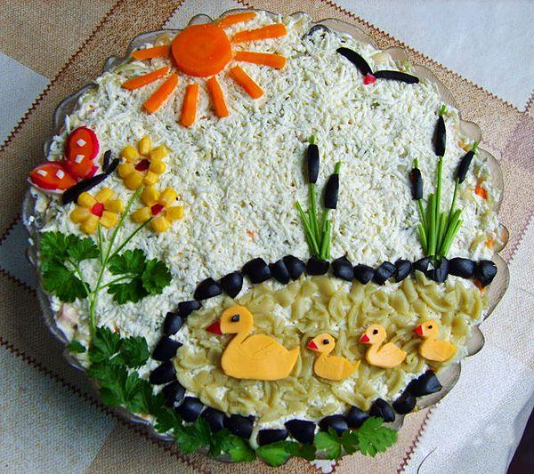 Как украсить салаты своими руками фото на день рождения фото