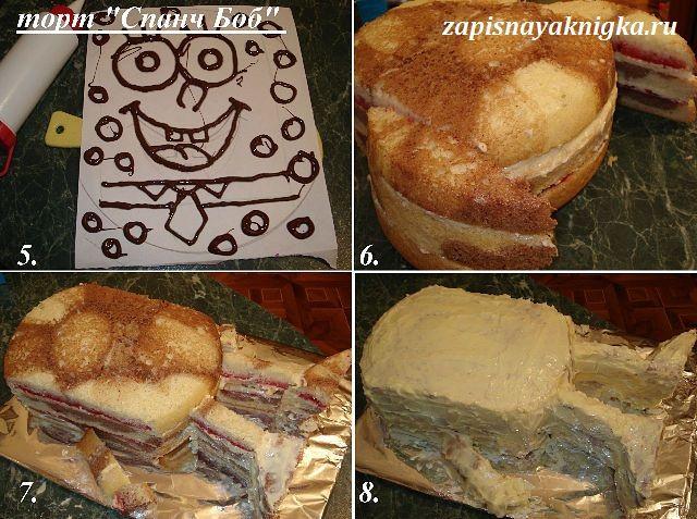 Как сделать торт губка боб