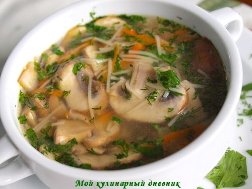 Рецепт супа с грибами шампиньоны