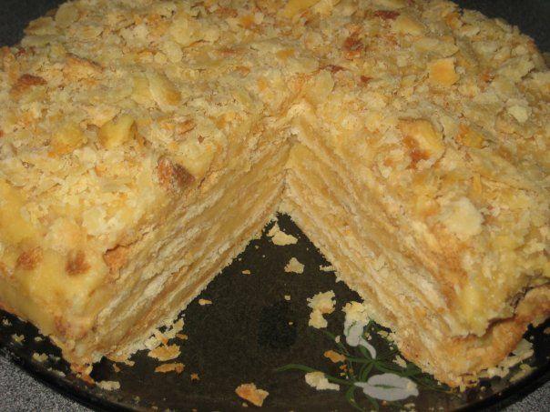 Слоеный торт наполеон с заварным кремом рецепт с фото