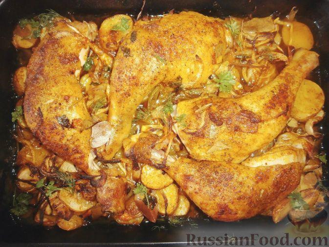 Картошка с куриными ножками в духовке рецепт